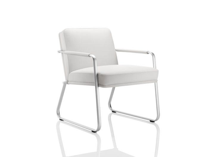 Optimum White Leather Chair with Satin Chrome Frame