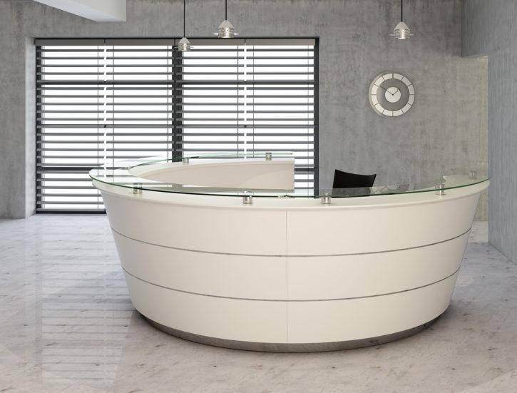 Pinnacle Circular White Reception Desk