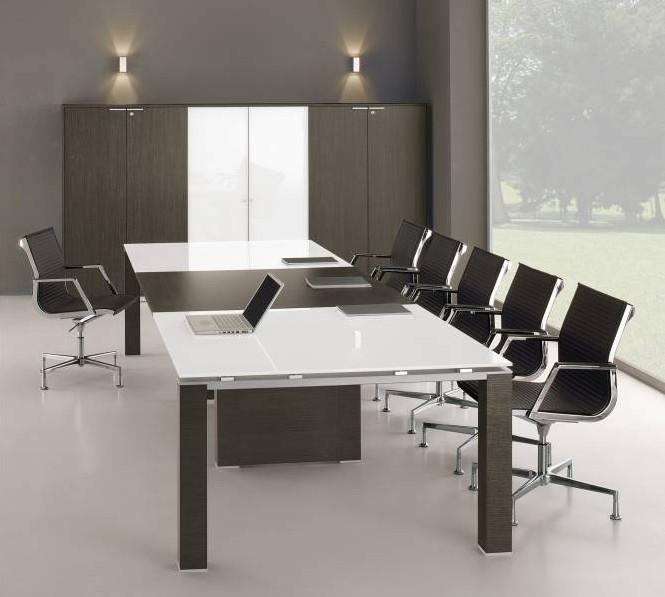 Saint White Glass Italian Boardroom Table