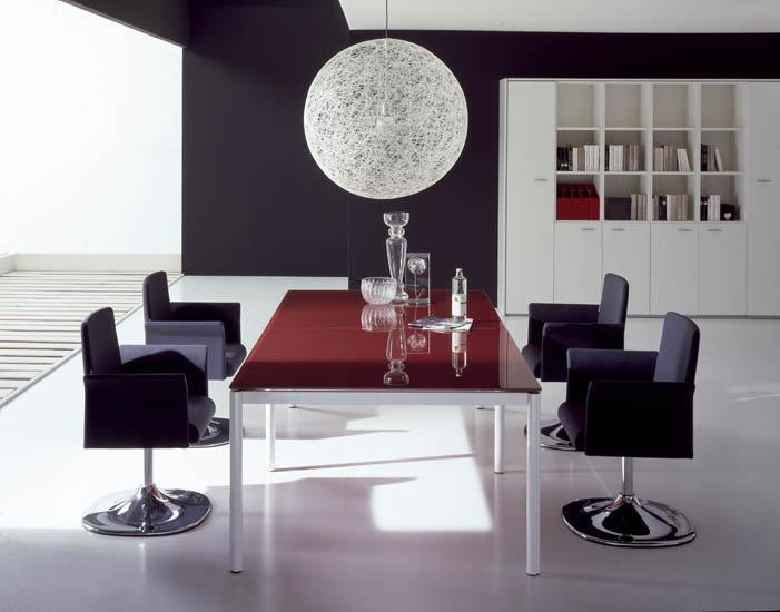 Xeta Red Italian Glass Boardroom Table