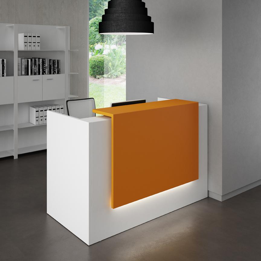 zeta single reception desk with colour panel - Reception Desks