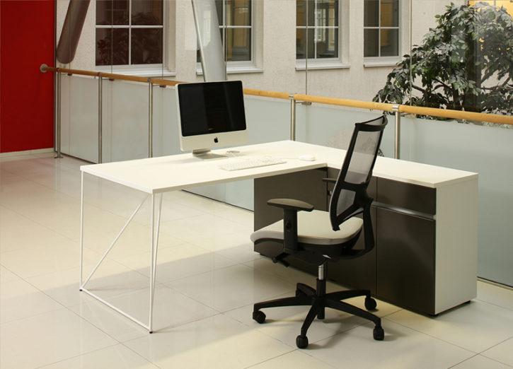 Breeze White Desk with Storage