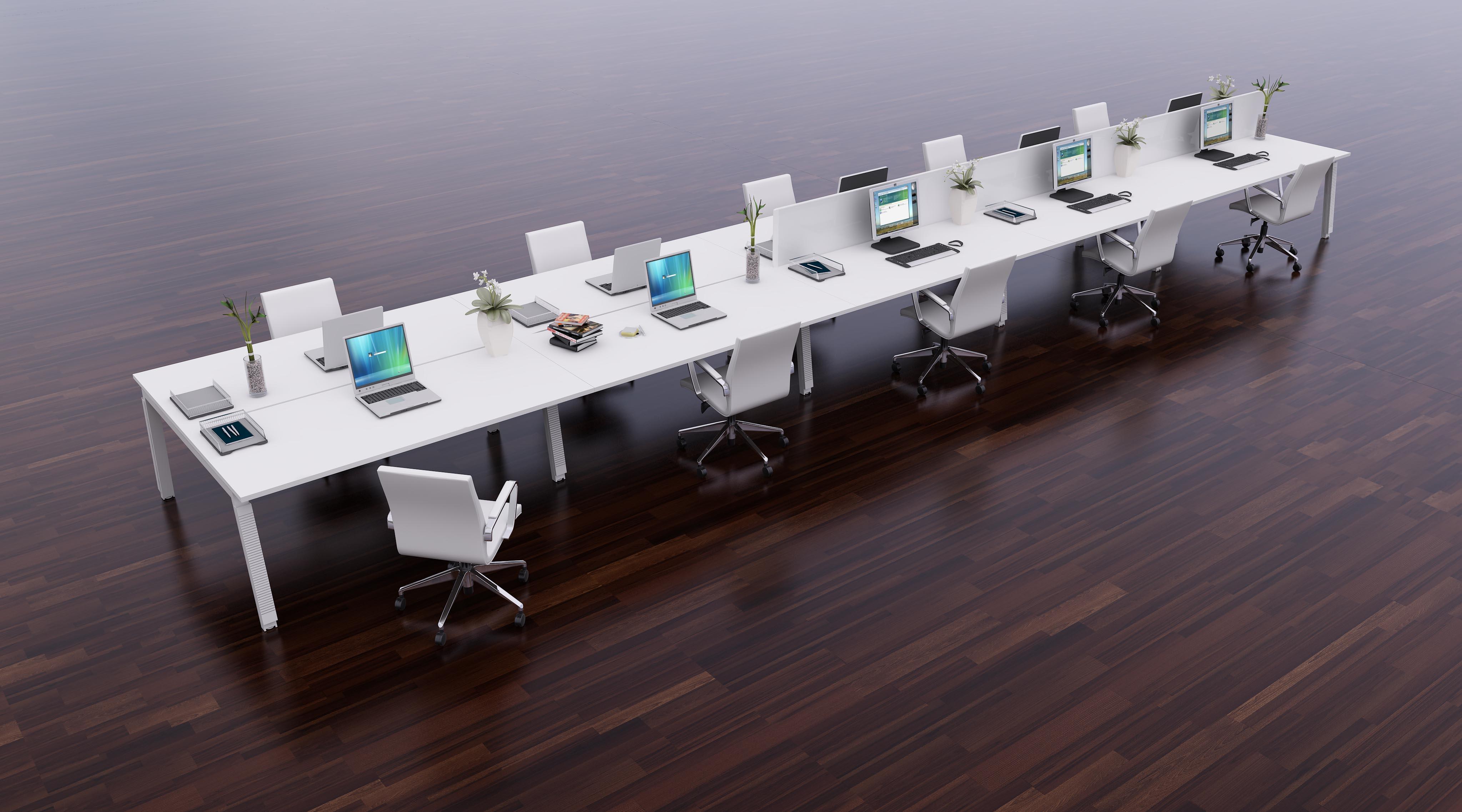 Inline Stylish Sliding Top Bench Desk Range Tag Office