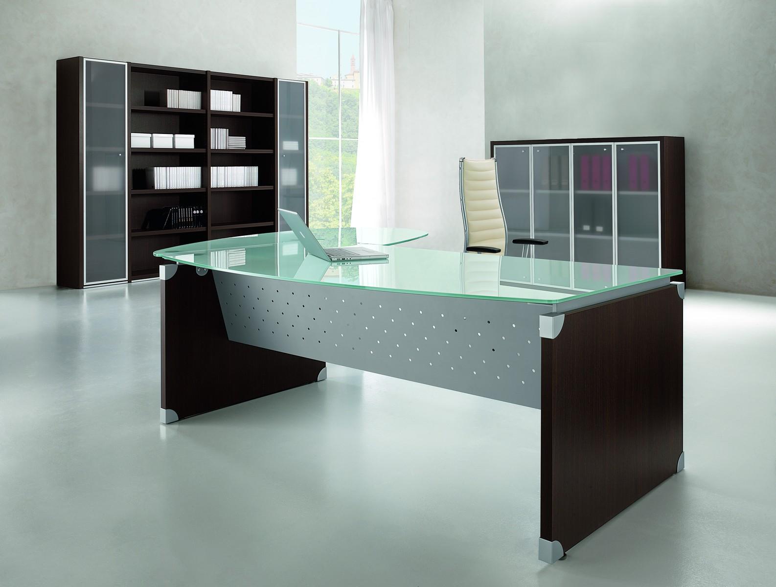 nexa glass glass executive desk with return tag office