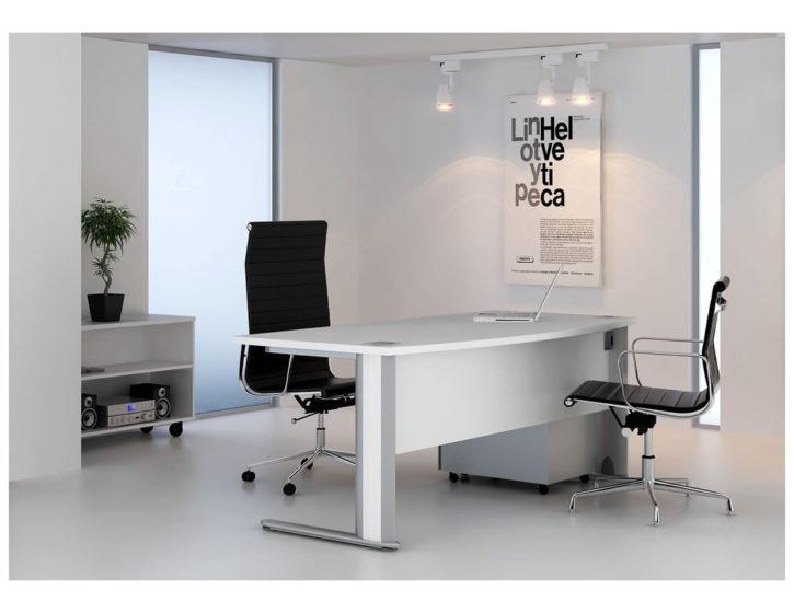Optus White Bow Fronted Executive Desk