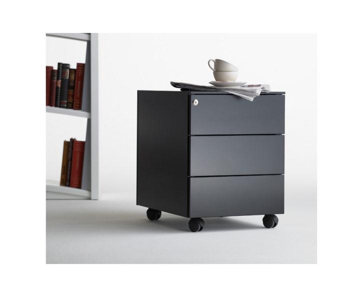Primeli Black 3 Drawer Pdestal