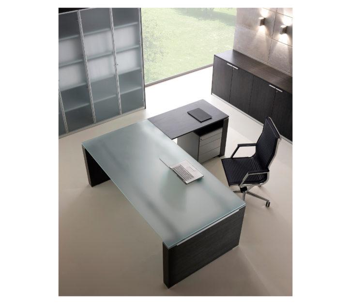 Saint Italian Glass Executive Desk