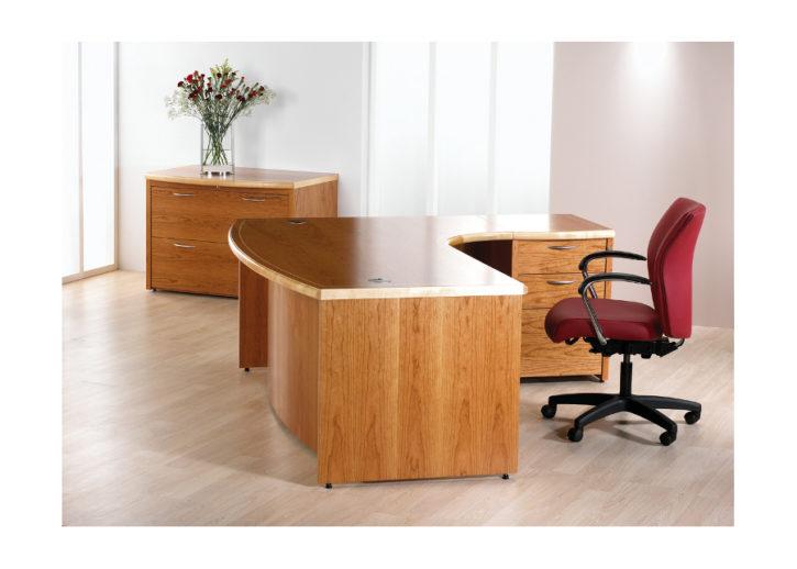Smooth Veneered Executive Office Desk