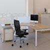 Wood Top Crescent Desk