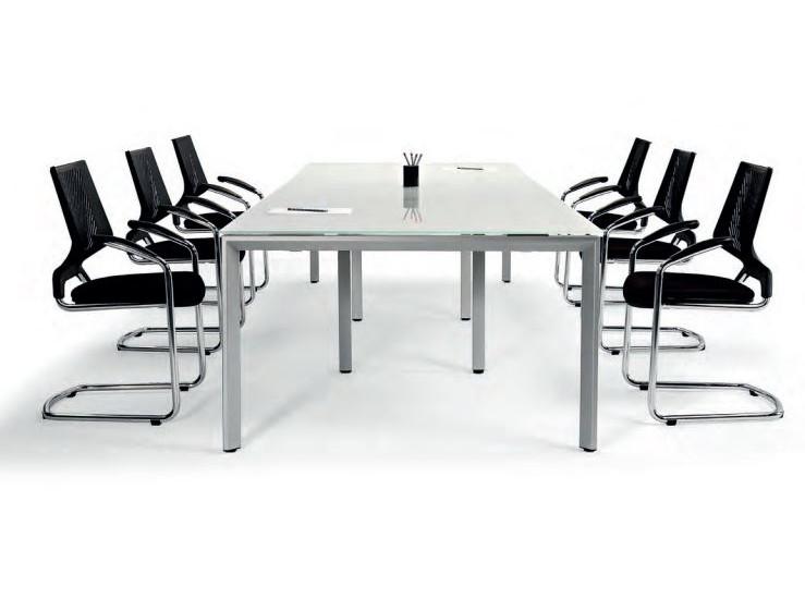White Boardroom Table Glass Or Laminate Rectangular Vitalis - Glass boardroom table
