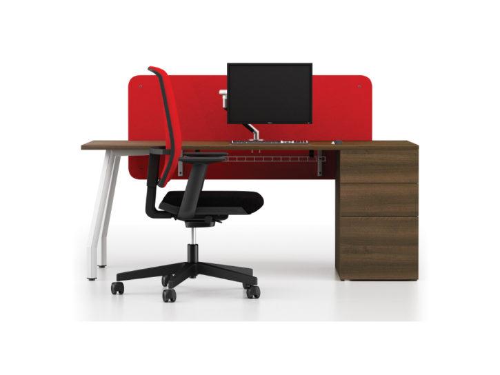 Note Desk with Walnut  Pedestal