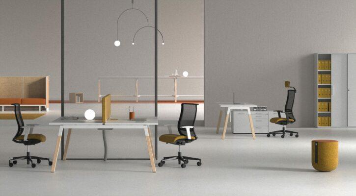 Polare Bench Desks with Screen